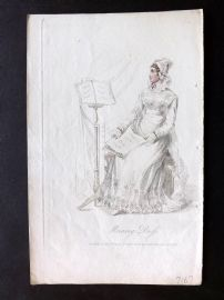 Ackermann 1824 Antique Regency Fashion Plate. Morning Dress